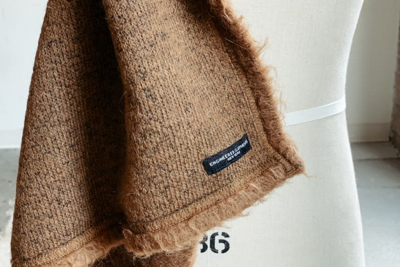Engineered Garments Button Shawl Brown Solid Mohair