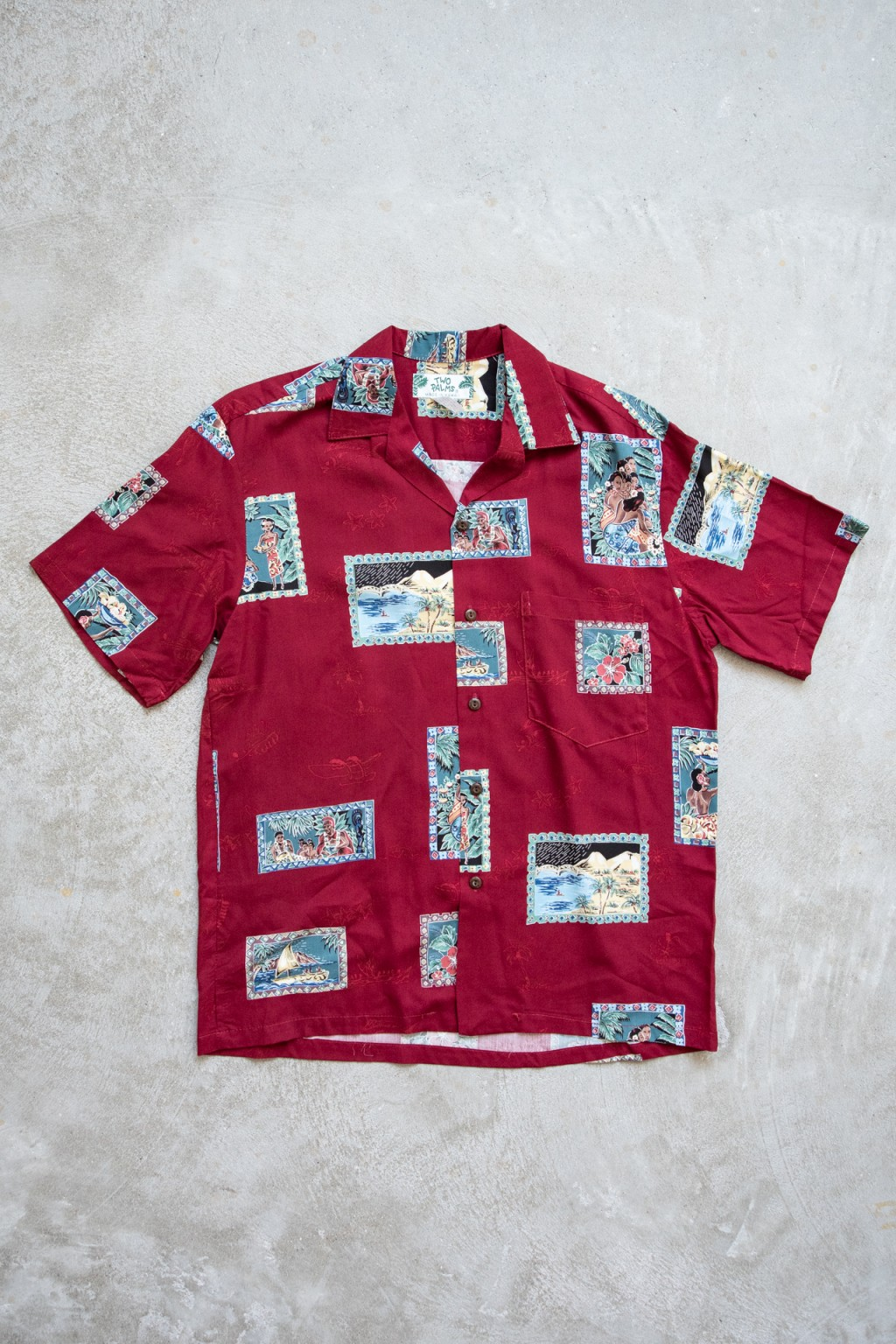 Two Palms Postcards Shirt Red