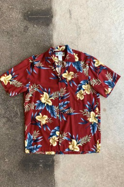 Two Palms Hawaiian Orchid Shirt Red