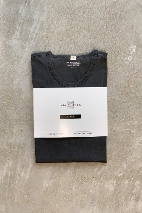 """Lady White Co. Two Pack T-Shirts """"Grindle Wash"""" Black Cotton"""