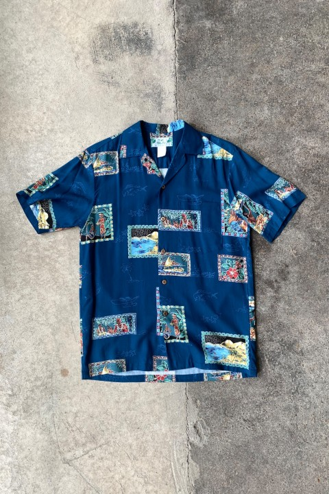 Two Palms Postcards Shirt Navy